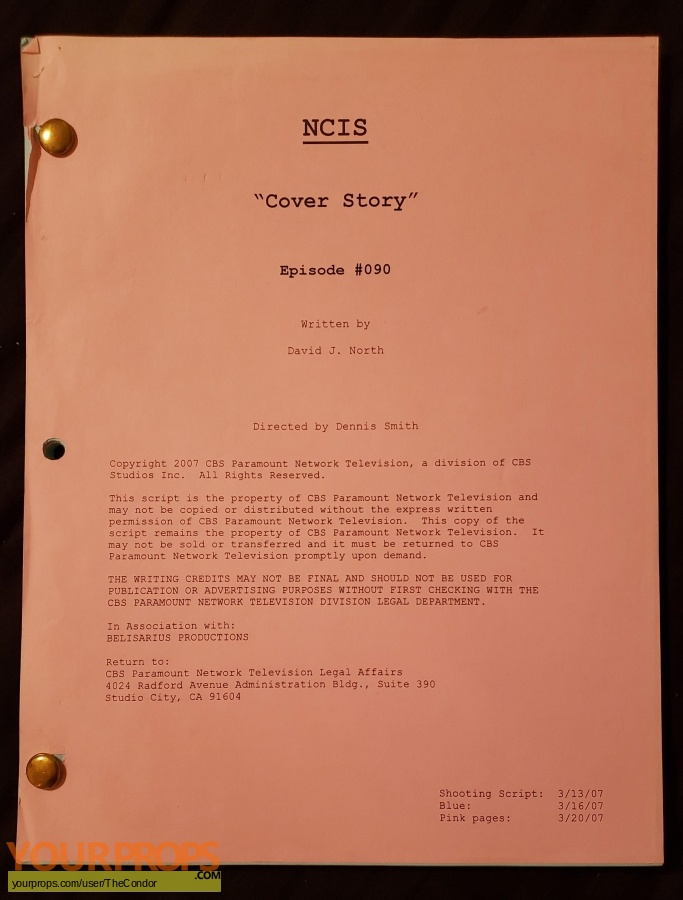 Navy NCIS  Naval Criminal Investigative Service original production material