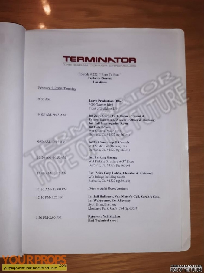 Terminator  The Sarah Connor Chronicles original production material