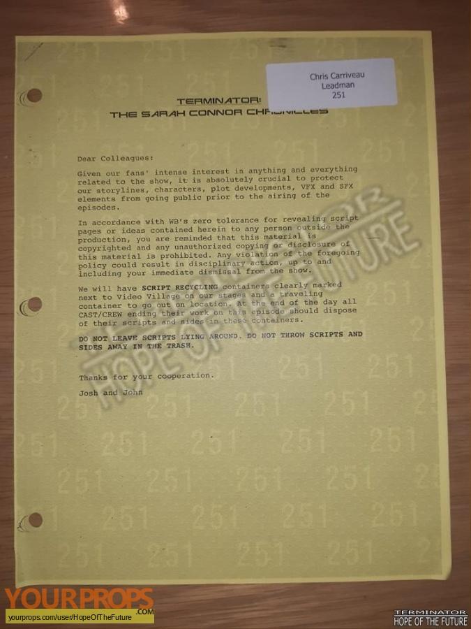 Terminator  The Sarah Connor Chronicles original production material