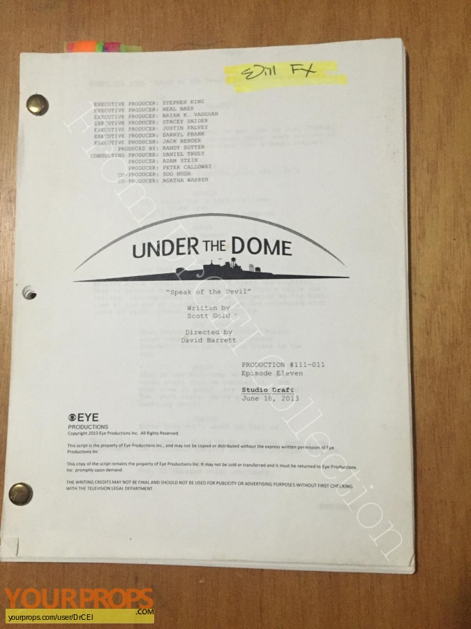Under the Dome original production material