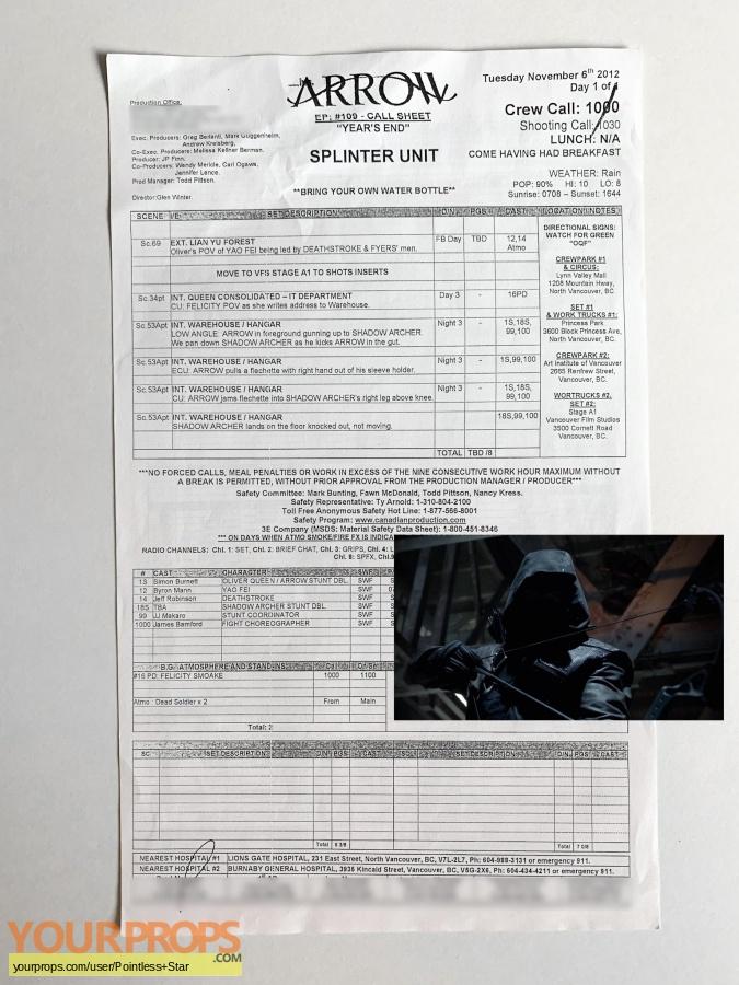 Arrow original production material