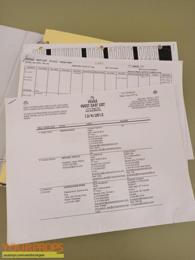 Vegas  2012 original production material