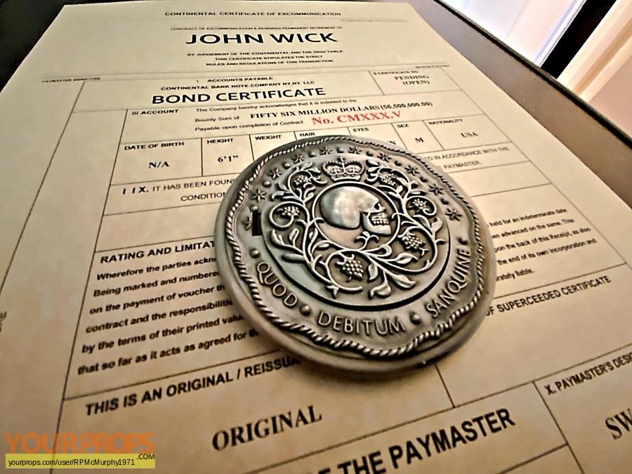 John Wick Chapter 3  Parabellum  John Wick Deconsecrated Bond Certificates made from scratch movie prop