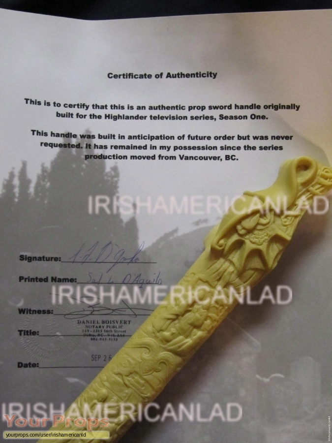 Highlander  The Series original movie prop