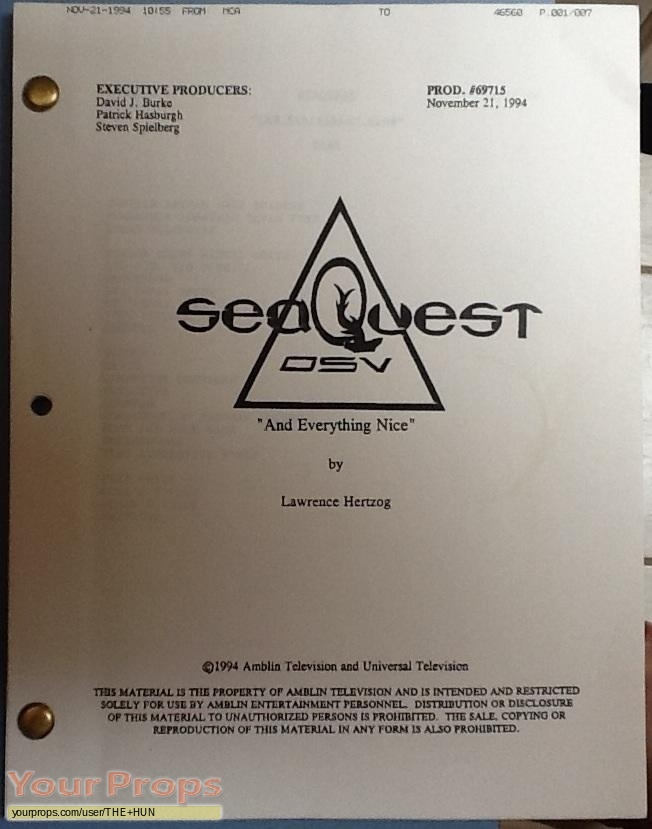 SeaQuest DSV original production material