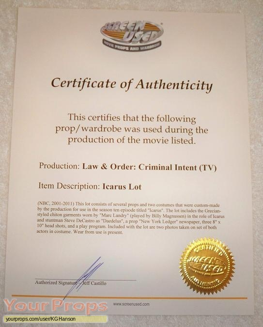 Law   Order  Criminal Intent original movie prop