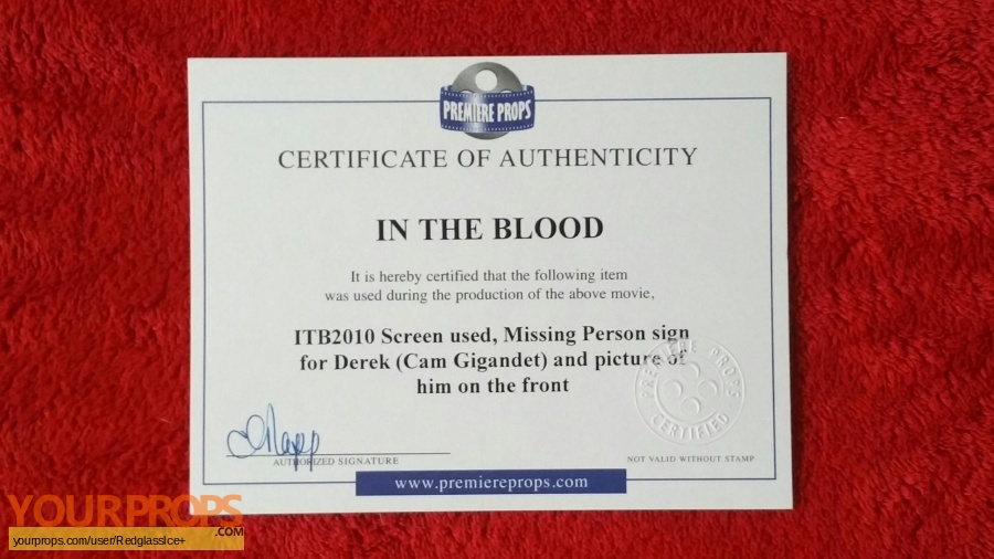 In the Blood original movie prop