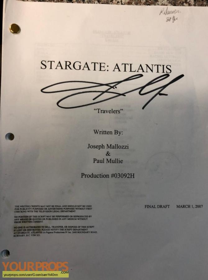 Stargate Atlantis original production material