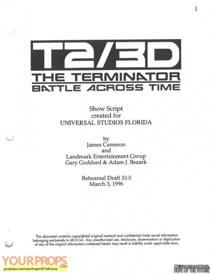 Terminator 2 3D  Battle Across Time replica production material