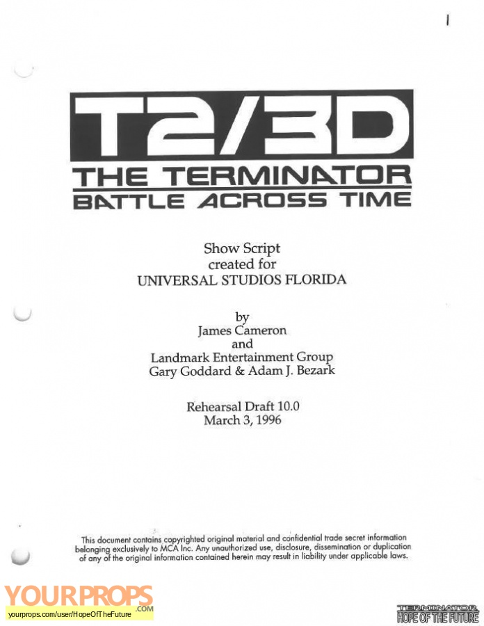 Terminator 3D  Battle Across Time replica production material