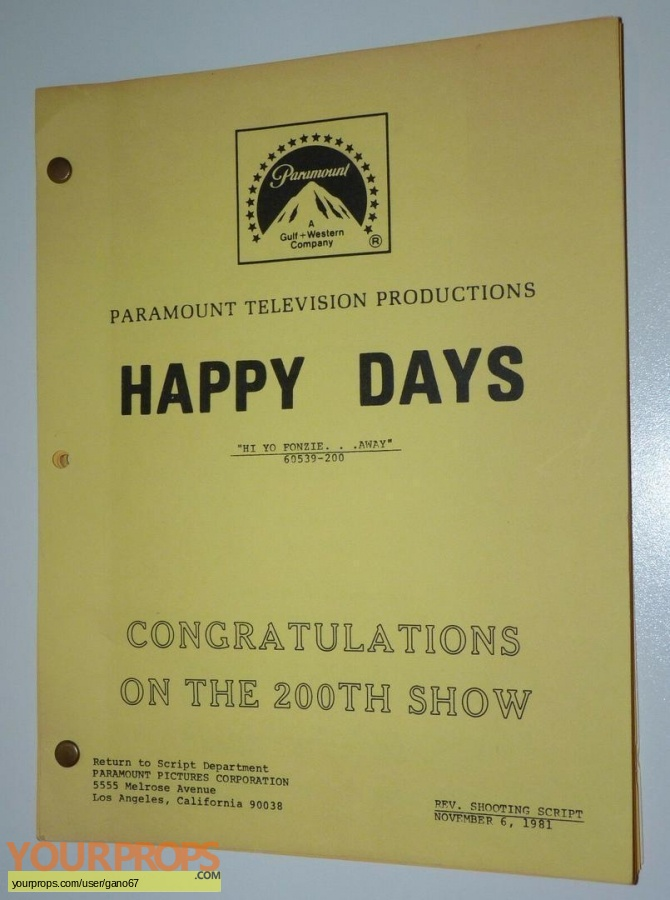 Happy Days original production material