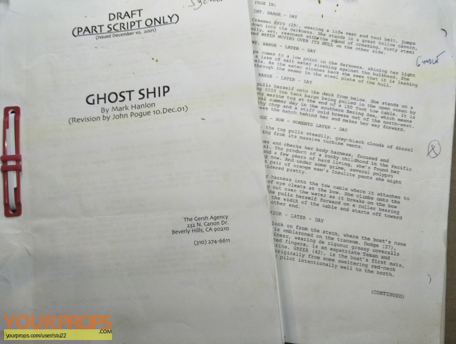 Ghost Ship original production material