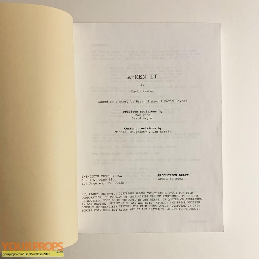 X2  X-Men United original production material