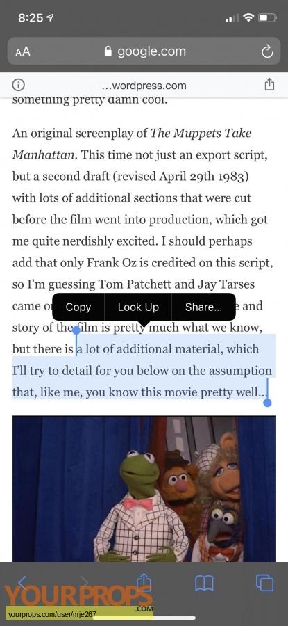The Muppets Take Manhattan original production artwork
