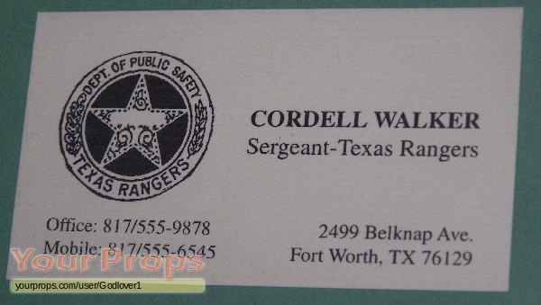Walker texas ranger cordell walkers business card original tv walker texas ranger original movie prop colourmoves