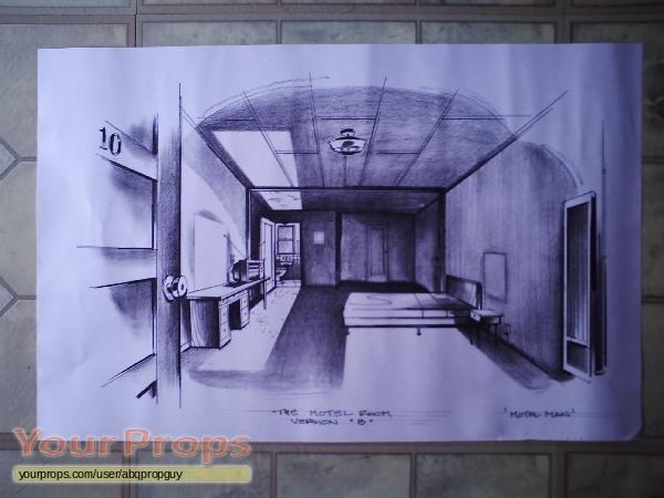 The Lost Room Conceptual Drawing: Motel Room #10 original prod. artwork
