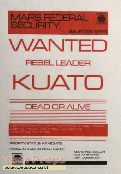 Total Recall Kuato Wanted Notice Replica Movie Prop