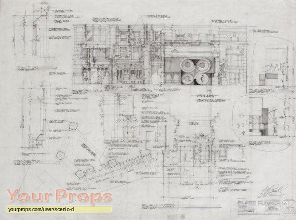 Blade Runner Original Set Design Drawing Original Prod