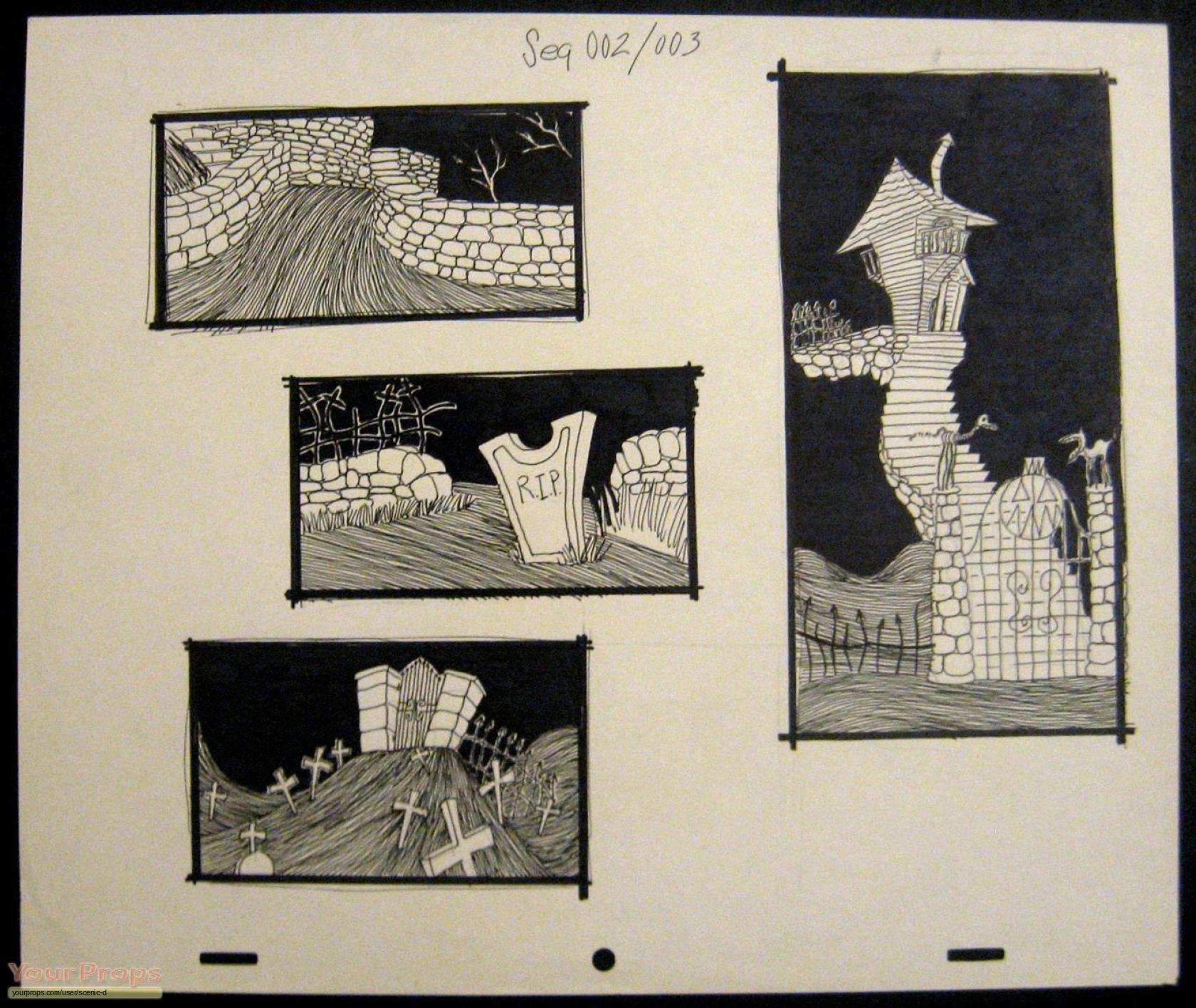 The Nightmare Before Christmas Concept sketches original prod. artwork