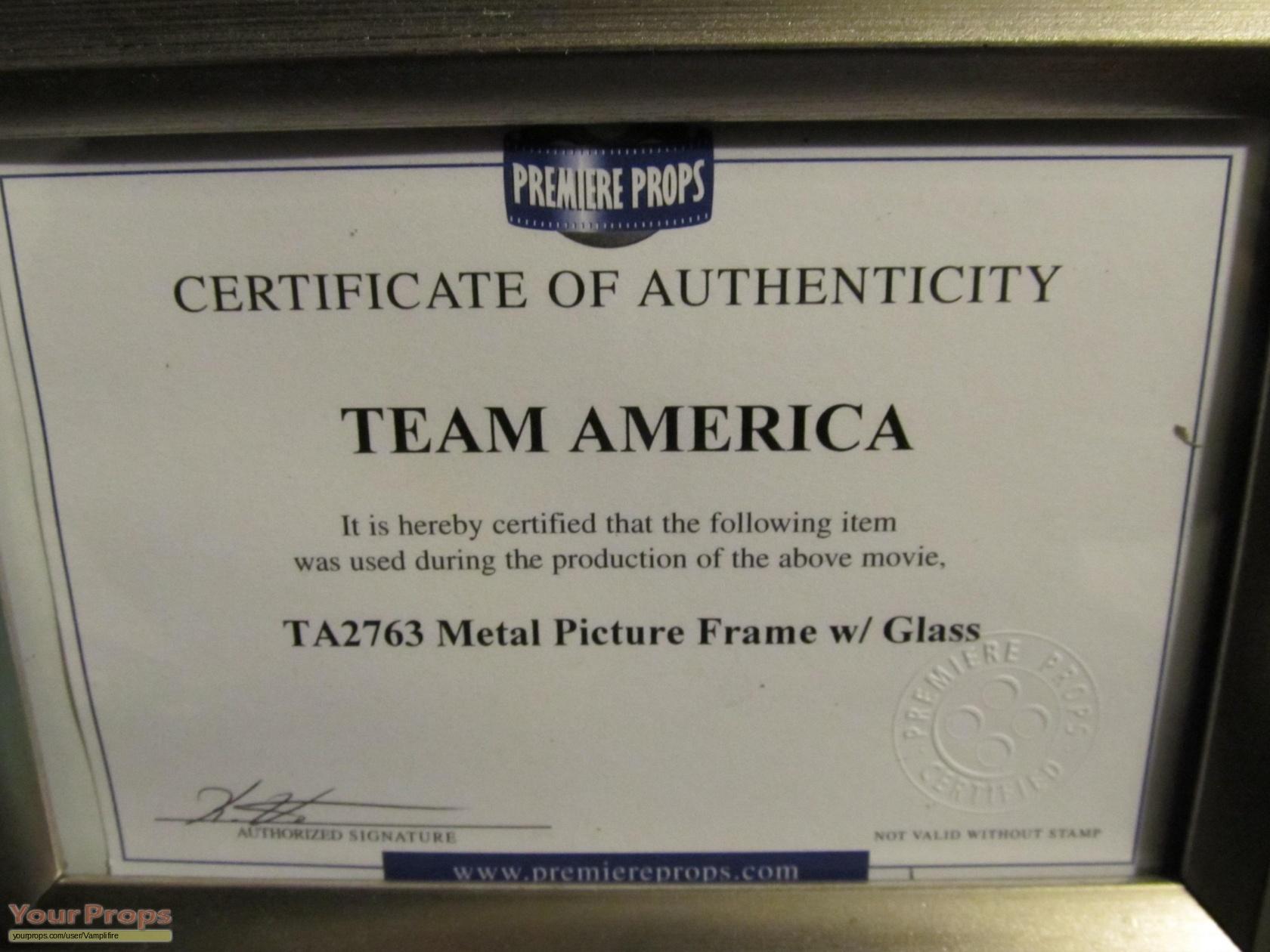 Team America: World Police Photo frame original movie prop