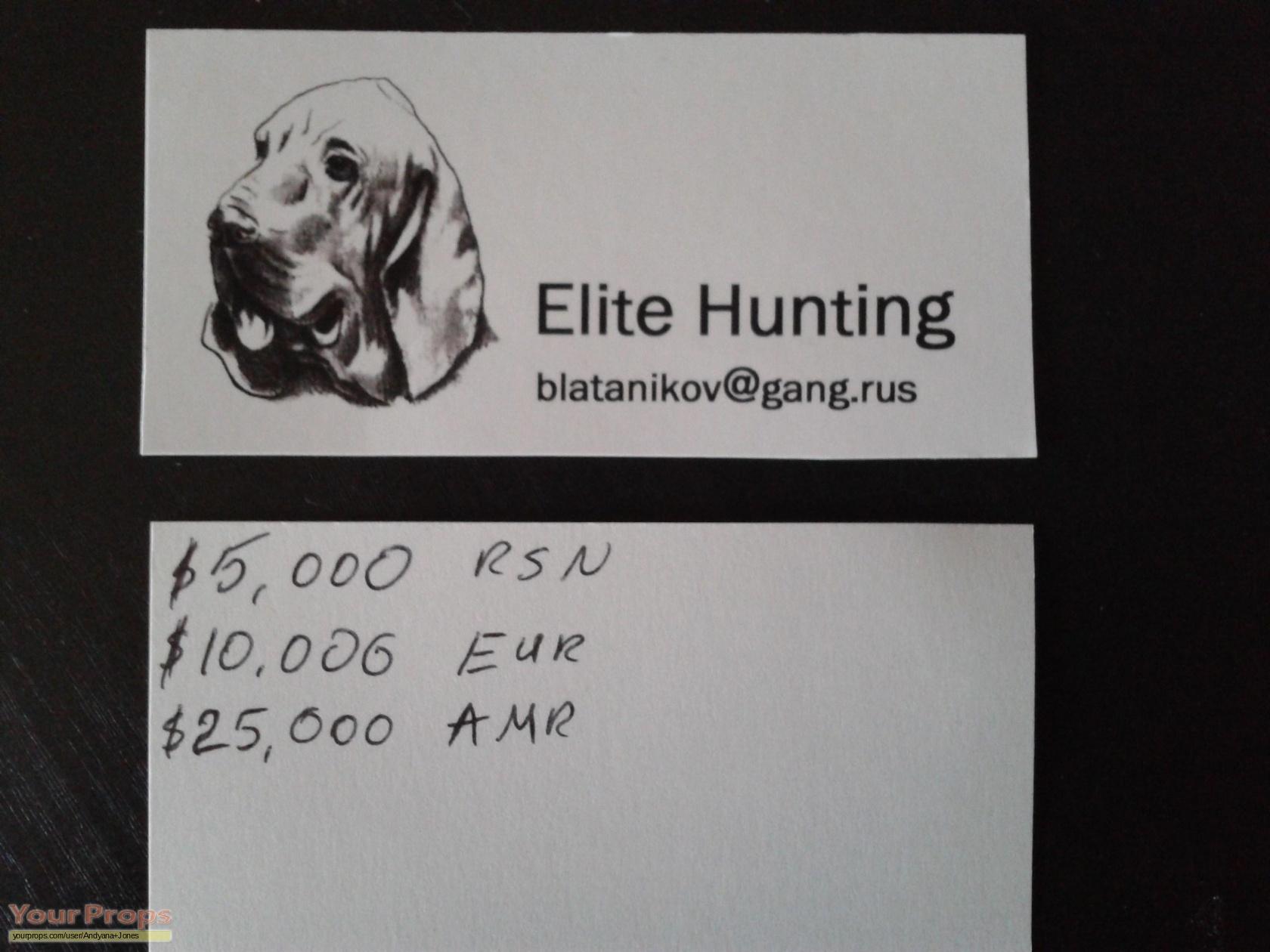 Hostel elite hunting business card replica movie prop hostel elite hunting business card colourmoves