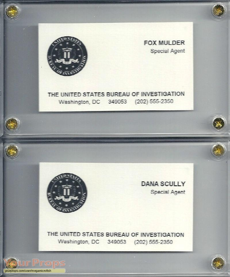 The x files fox and mulder business cards original tv series prop original movie prop reheart Gallery