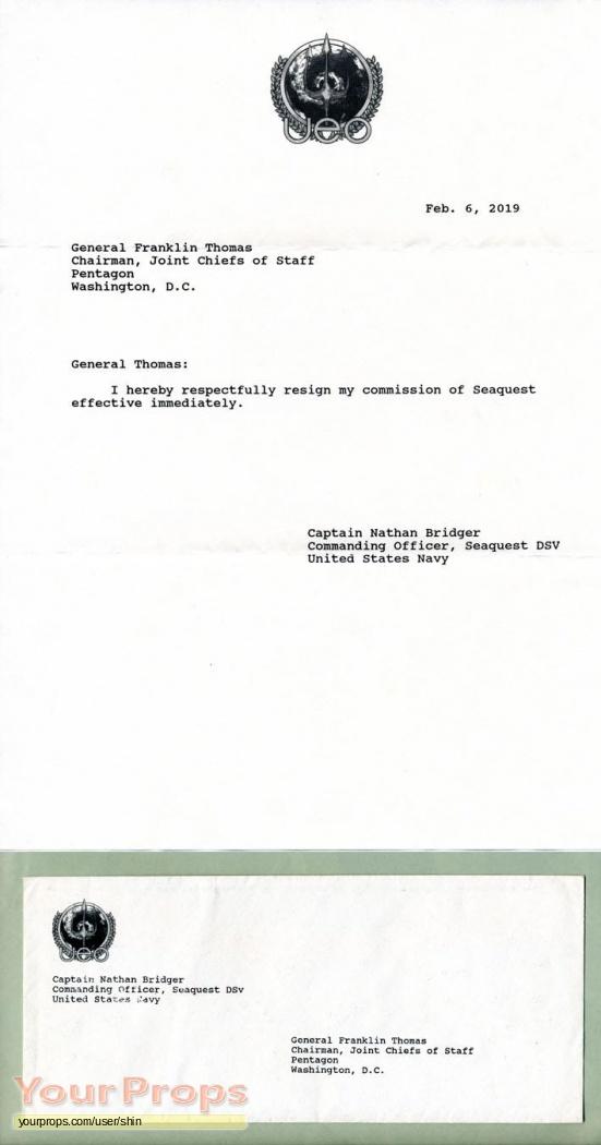 Seaquest dsv resignation letter envelope original tv series prop seaquest dsv original movie prop expocarfo Gallery