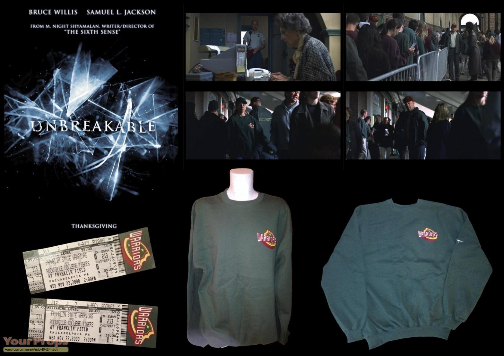 Unbreakable Unbreakable Warriors Sweater Pair Of Tickets Original Movie Prop