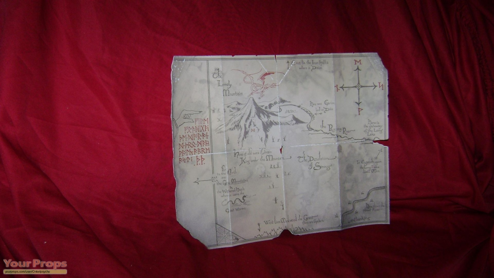 Lord of the Rings Trilogy Map to Erebor replica movie prop