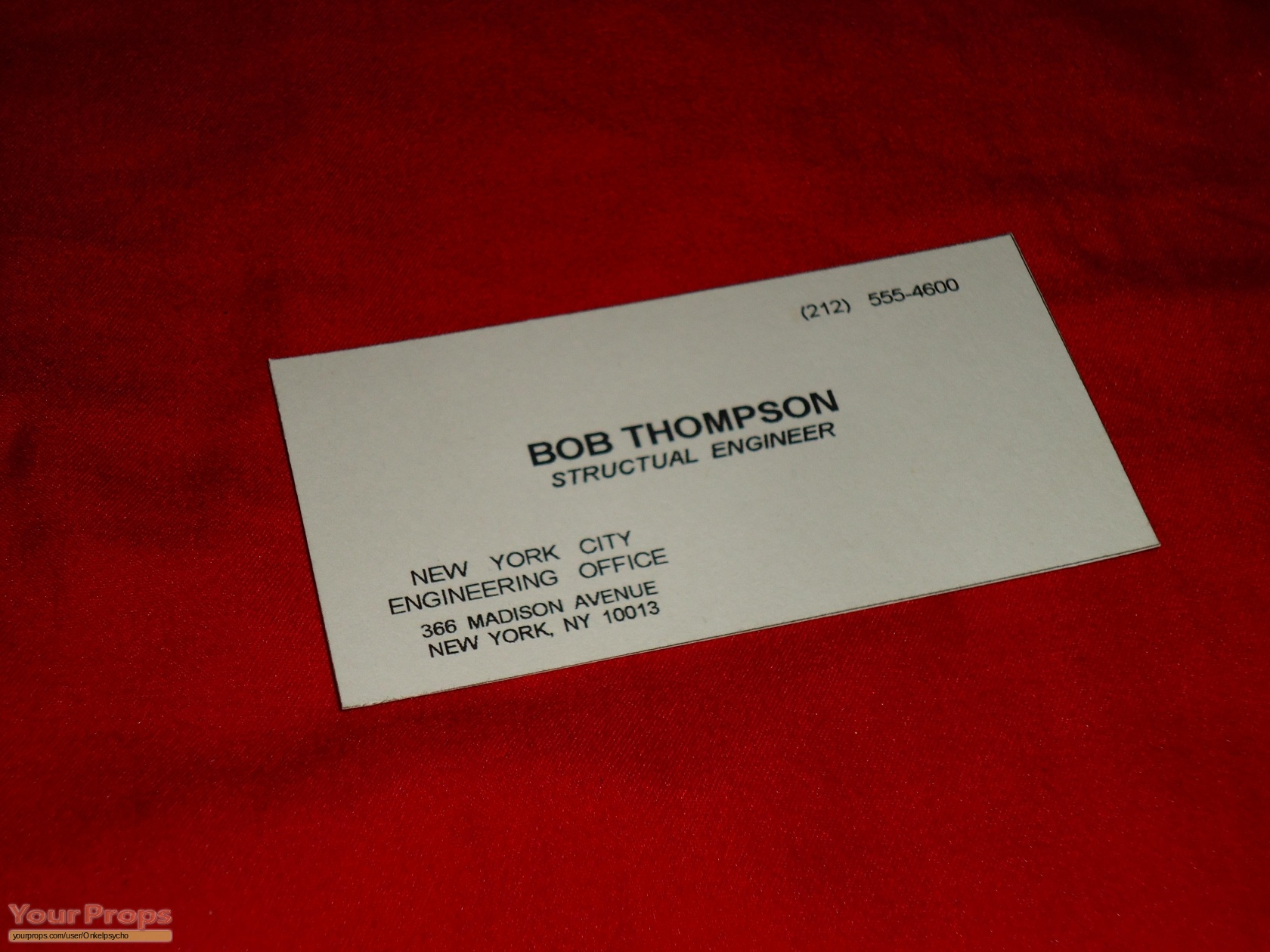 Die Hard: With A Vengeance Fake Business Card replica ...
