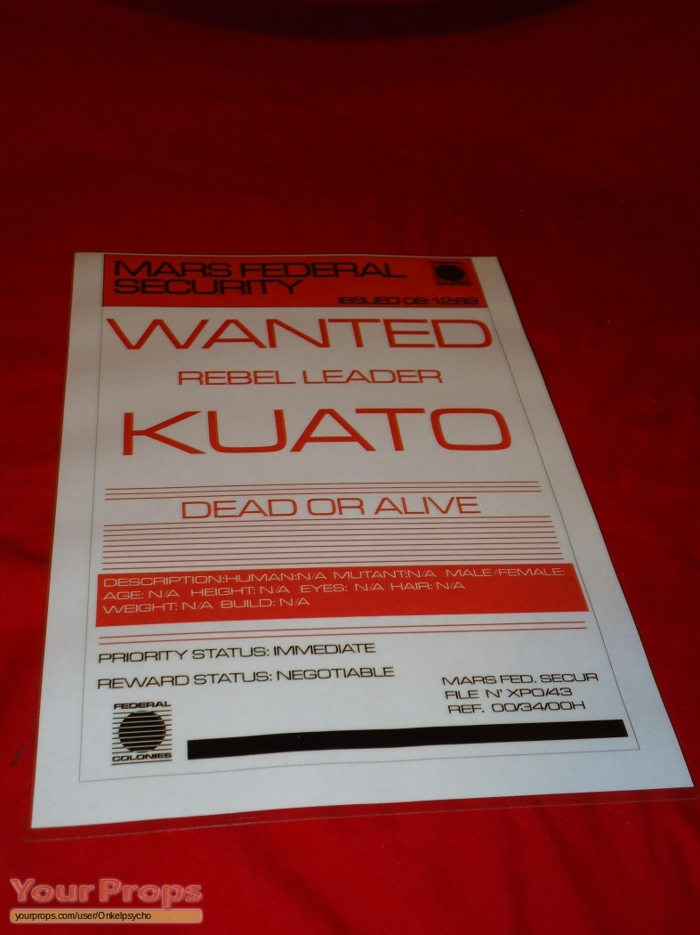 Total Recall Kuato Wanted Poster Replica Movie Prop