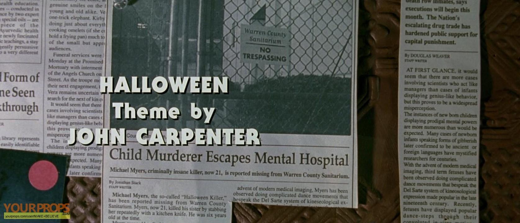 Halloween H20: 20 Years Later Newspaper clip - Child Murderer