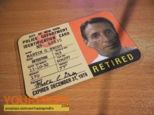 Brody Movie Replica Jaws Id Nypd Martin Prop Card
