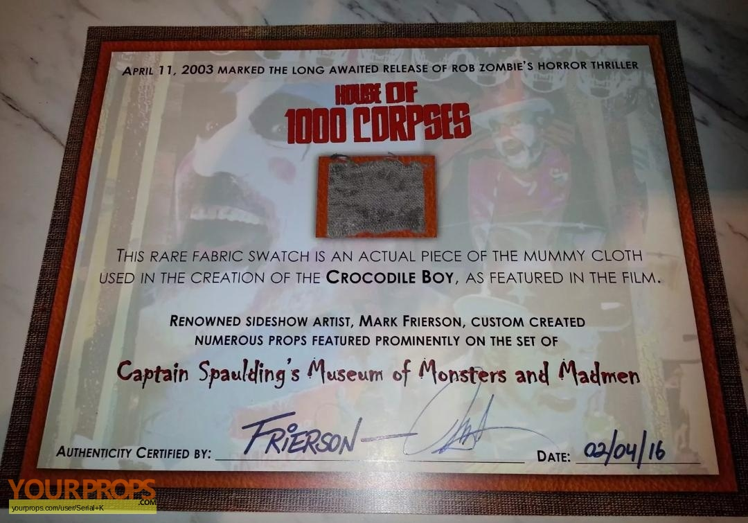 House Of 1000 Corpses Crocodile Boy Fabric Swatch Prop Original