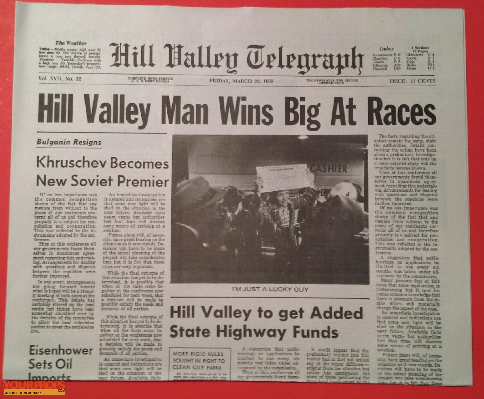 Back To The Future 2 'HV Man Wins Big at Races' Newspaper (v 2