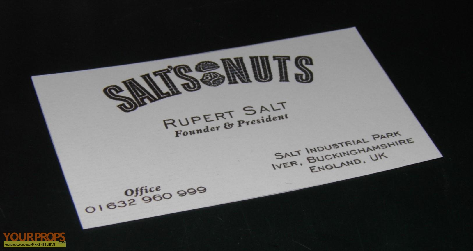 Charlie and the Chocolate Factory Rupert Salt business card replica ...