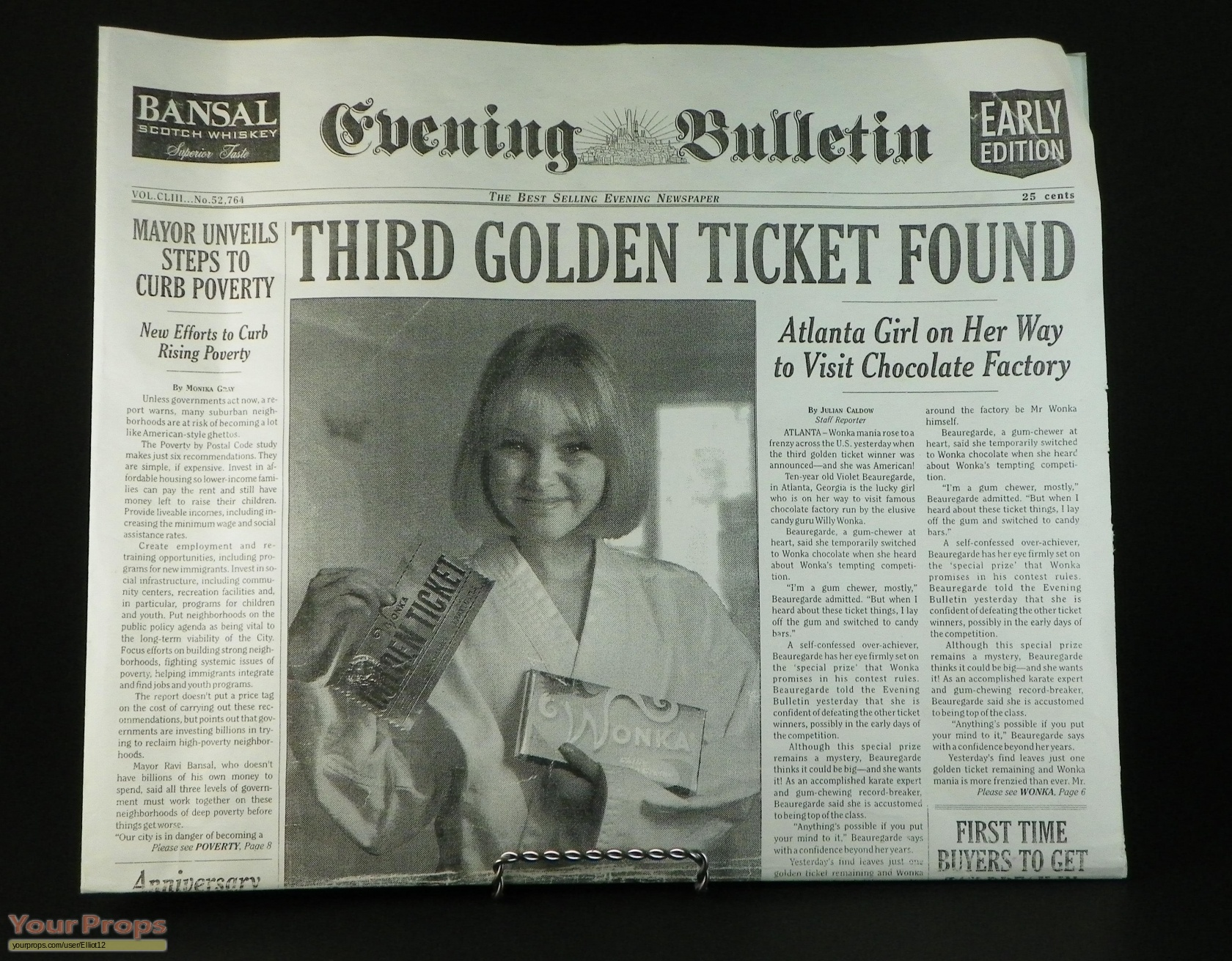 Charlie and the Chocolate Factory Golden Ticket Winner Newspaper ...